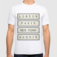 London | Paris | New Yor… Mens Fitted Tee Ash Grey SMALL