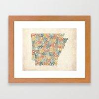 Arkansas by County Framed Art Print
