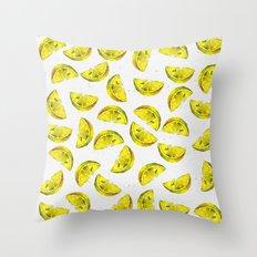 Lemon Slices Pattern White Throw Pillow