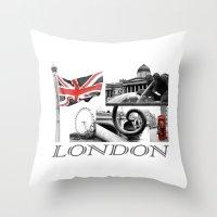 London Reds Throw Pillow