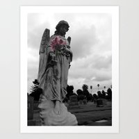 Angel Holding Flowers Art Print