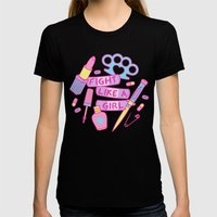 Girl Fighter Womens Fitted Tee Black SMALL