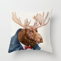 Moose In Navy Blue Throw Pillow
