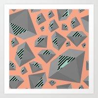 Mint and Gray Diamond on Peach Art Print