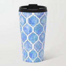 Cornflower Blue Moroccan Hand Painted Watercolor Pattern Travel Mug