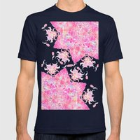 Pink Boho Bold Floral He… Mens Fitted Tee Navy SMALL