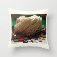 Throw Pillow featuring Handspun Yarn in a Field of Buttons by Rogue Crafter