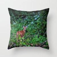 Backyard Bambi Throw Pillow