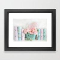 Aqua Pink Peonies and Books Framed Art Print