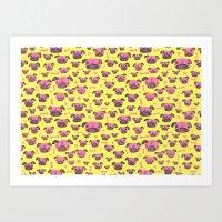 Pug Life  - Yellow And P… Art Print