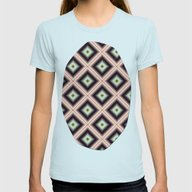 Starry Tiles In BMAP 00 Womens Fitted Tee Light Blue SMALL