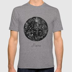 Pisces Constellation Mens Fitted Tee Tri-Grey SMALL
