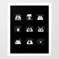 Fifties' Smartphones Bla… Art Print