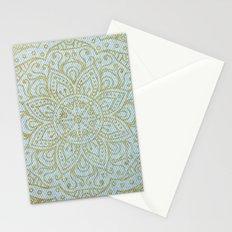 Gold Mandala on Light Blue Jeans Stationery Cards