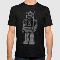 Vintage robot Mens Fitted Tee Tri-Black SMALL