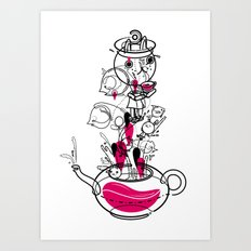 Tea with the White Rabbit Art Print