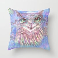Vivid Owl Throw Pillow