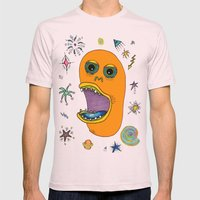 Planet Eating Monster Mens Fitted Tee Light Pink SMALL