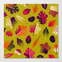 Fall Leaves Pattern Canvas Print