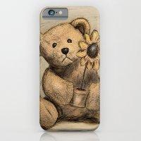 Teddybear with a sunflower iPhone 6 Slim Case