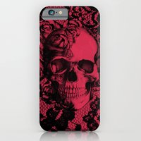 Gothic Lace Skull in red and black. iPhone 6 Slim Case