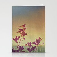 Mimus polyglottos in top of Magnolia Grandiflora Stationery Cards