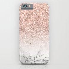 Modern faux rose pink glitter ombre white marble Slim Case iPhone 6s