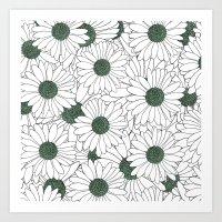 Daisy Mint  Art Print