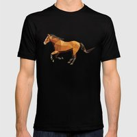 Geometric Horse Mens Fitted Tee Black SMALL