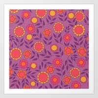 Retro Bloom Purple 1 Art Print