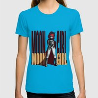 Moon Girl Epic Womens Fitted Tee Teal SMALL