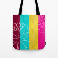 Chinese Flowers & Stripes - Pink Yellow Cyan Red Tote Bag