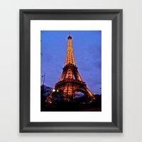 Eiffel Tower At Night Framed Art Print