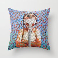 Throw Pillow featuring Niño después del Tsunami by Cristian Blanxer