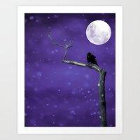 Moonlit Winter Sky Art Print