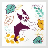 Happy Fall, Dogs! (Bosto… Art Print