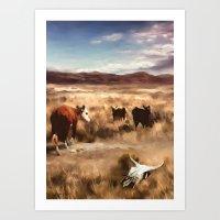 Three Cows Considering Art Print