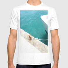 Boat Green White Mens Fitted Tee SMALL