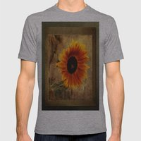 Vintage Sunflower Framed Mens Fitted Tee Athletic Grey SMALL