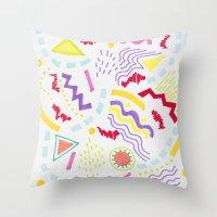 Pastel Postmodern Doodle Throw Pillow