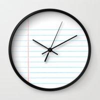 Notebook Paper Digital W… Wall Clock