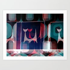 Atomic Cat And A Pattern Art Print