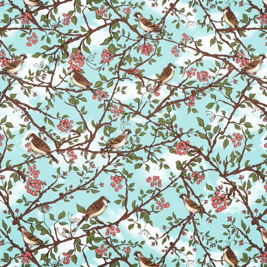 One Cloudy Day,  A Sparrow Tree -  Seamless Pattern Art Print