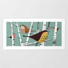 Suspicious little birds Art Print