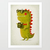 Dino Touristo (olive) Art Print