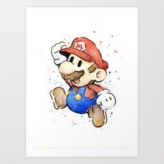 Mario Watercolor Art Print