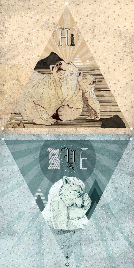 HI & BYE Art Print