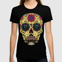 Deco Sugar Skull 3 Womens Fitted Tee Black SMALL