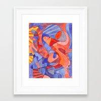 Red Doodle Framed Art Print