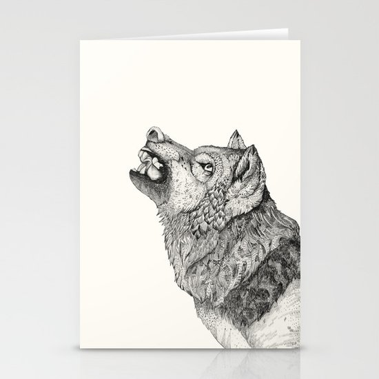 Wolf // Graphite Stationery Card